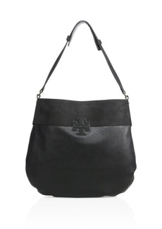 Tory Burch Stacked T Leather & Suede Hobo Bag