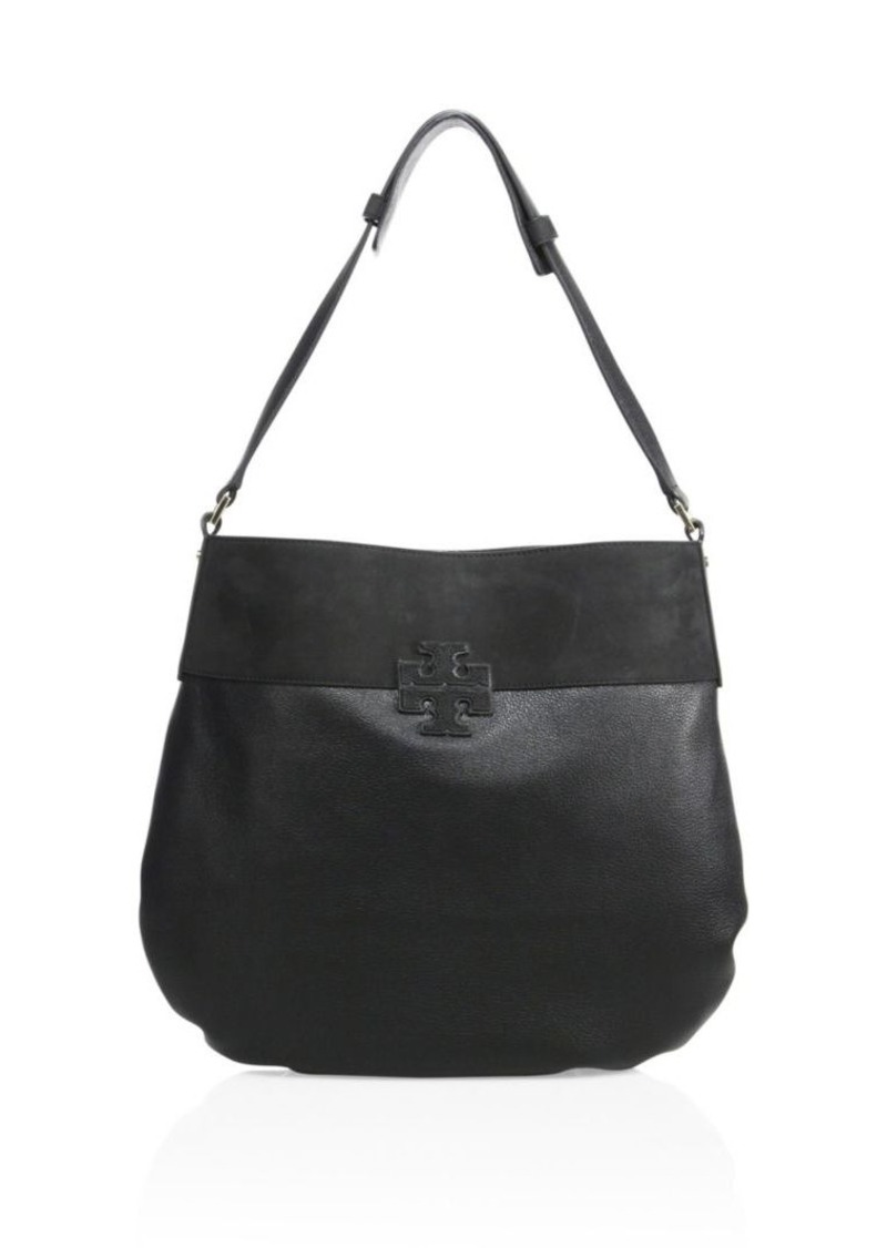 9c48e5be097 Tory Burch Tory Burch Stacked T Leather   Suede Hobo Bag
