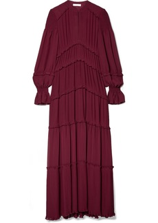 Tory Burch Stella ruffled pleated chiffon maxi dress