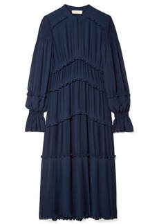 Tory Burch Stella ruffled pleated chiffon midi dress