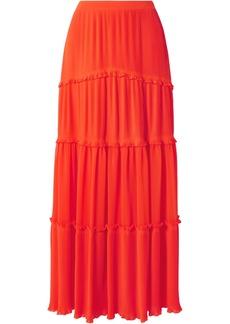 Tory Burch Stella tiered plissé-chiffon maxi skirt