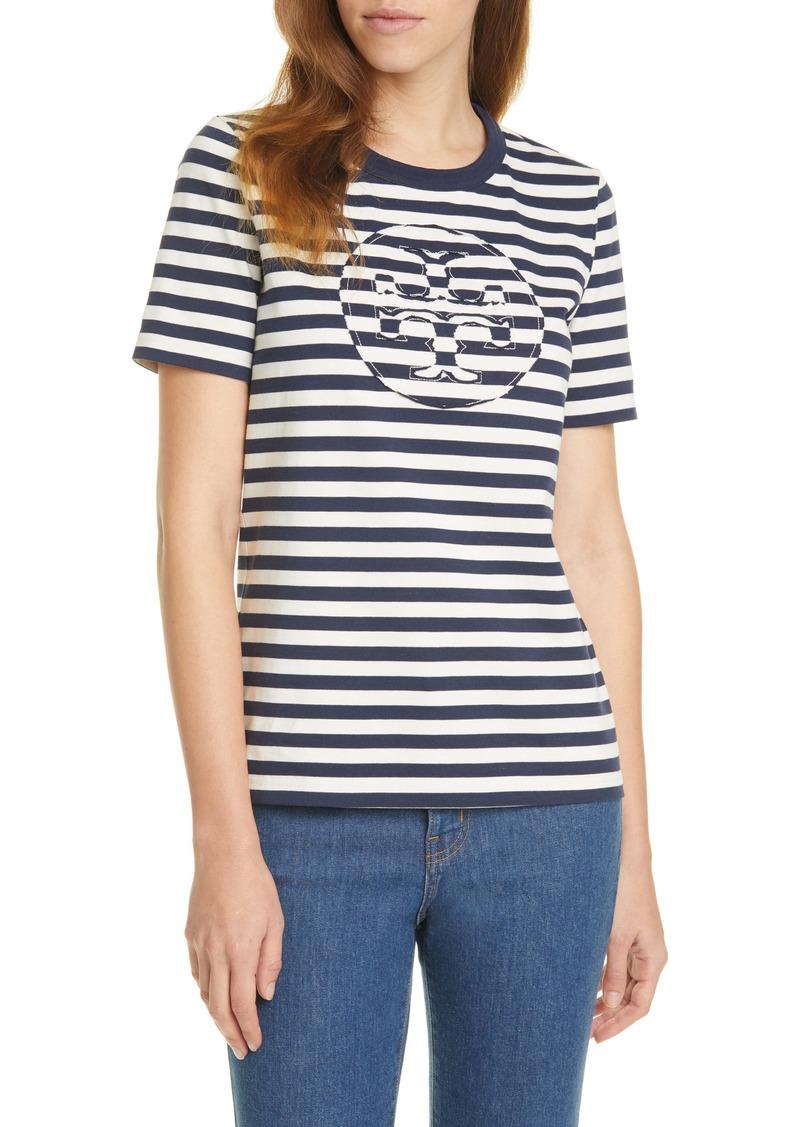 Tory Burch Stripe Cotton Jersey Logo T-Shirt