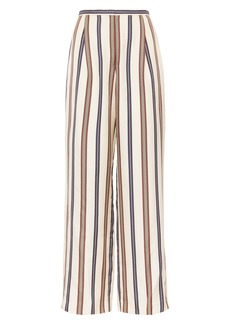 Tory Burch Stripe High Waist Wide Leg Silk Pants