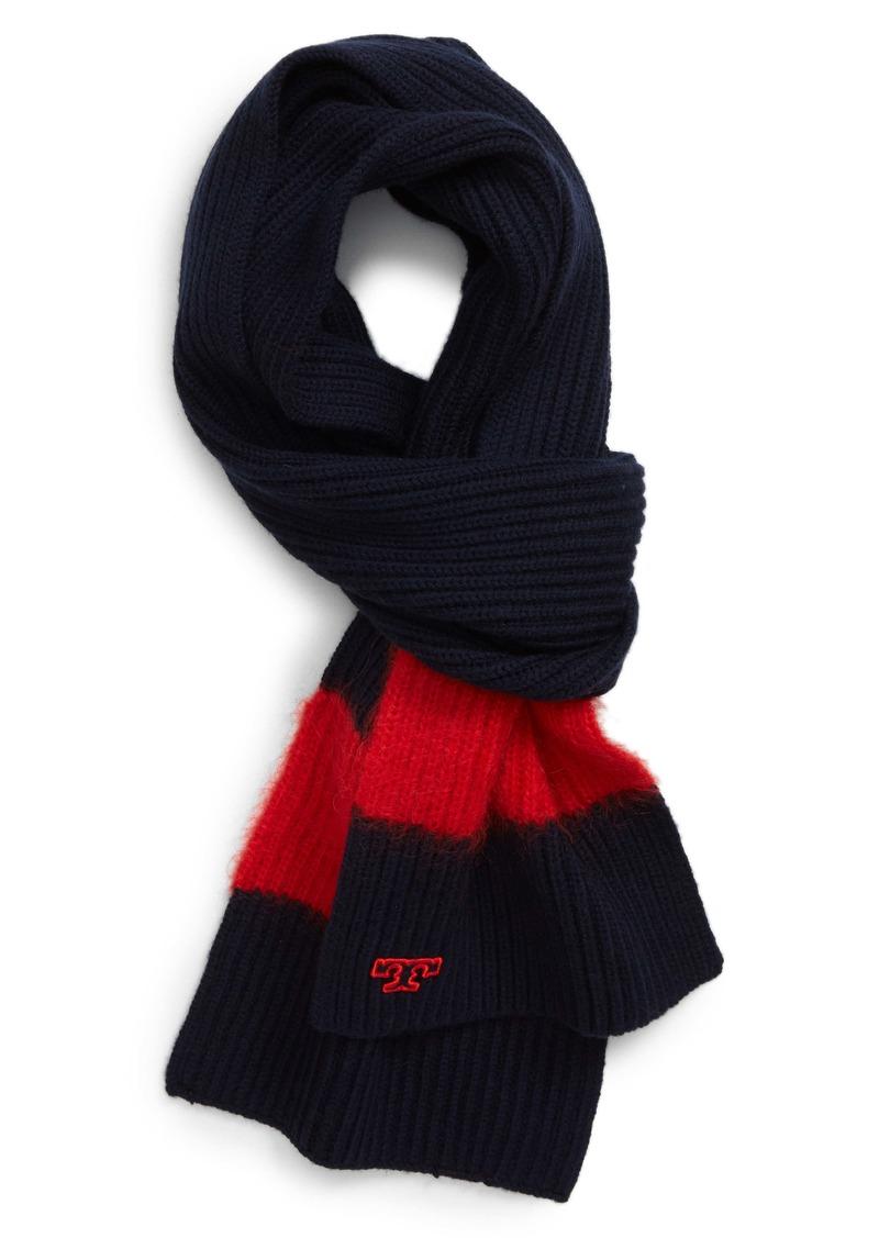Tory Burch Stripe Rib Wool Blend Scarf