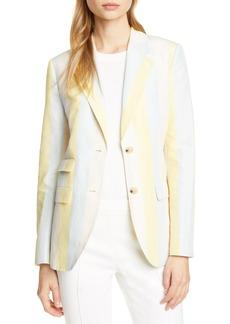 Tory Burch Stripe Silk & Linen Blazer