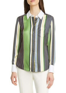 Tory Burch Stripe Silk Shirt (Nordstrom Exclusive)