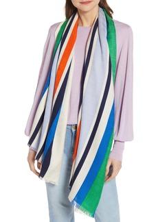 Tory Burch Striped Traveler Oblong Wool & Silk Scarf