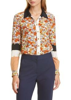Tory Burch Studded Patchwork Silk Shirt