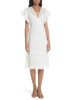 Tory Burch Susanna Flutter Sleeve Midi Dress