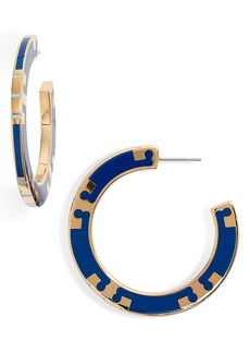 Tory Burch T-Stripe Hoop Earrings