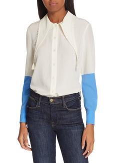Tory Burch Tassel Collar Silk Blouse