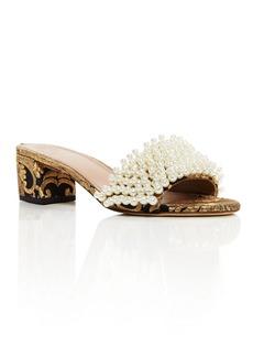 Tory Burch Tatiana Embellished Brocade Slide Sandals