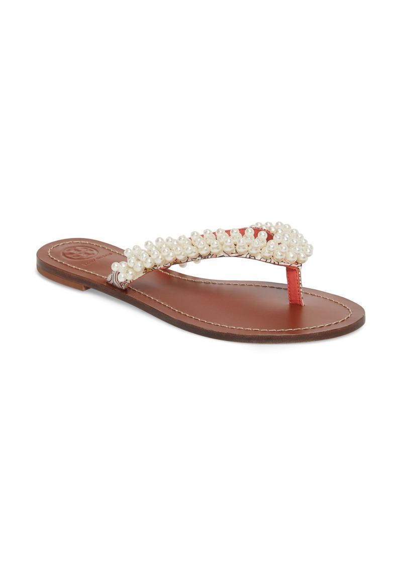 326274205251 Tory Burch Tory Burch Tatiana Imitation Pearl Embellsihed Sandal ...