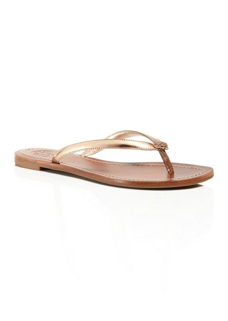 Tory Burch Terra Metallic Leather Thong Sandals