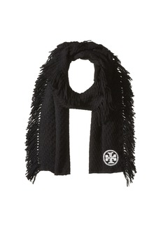 Tory Burch Textured Jacquard Oblong Scarf with Fringe