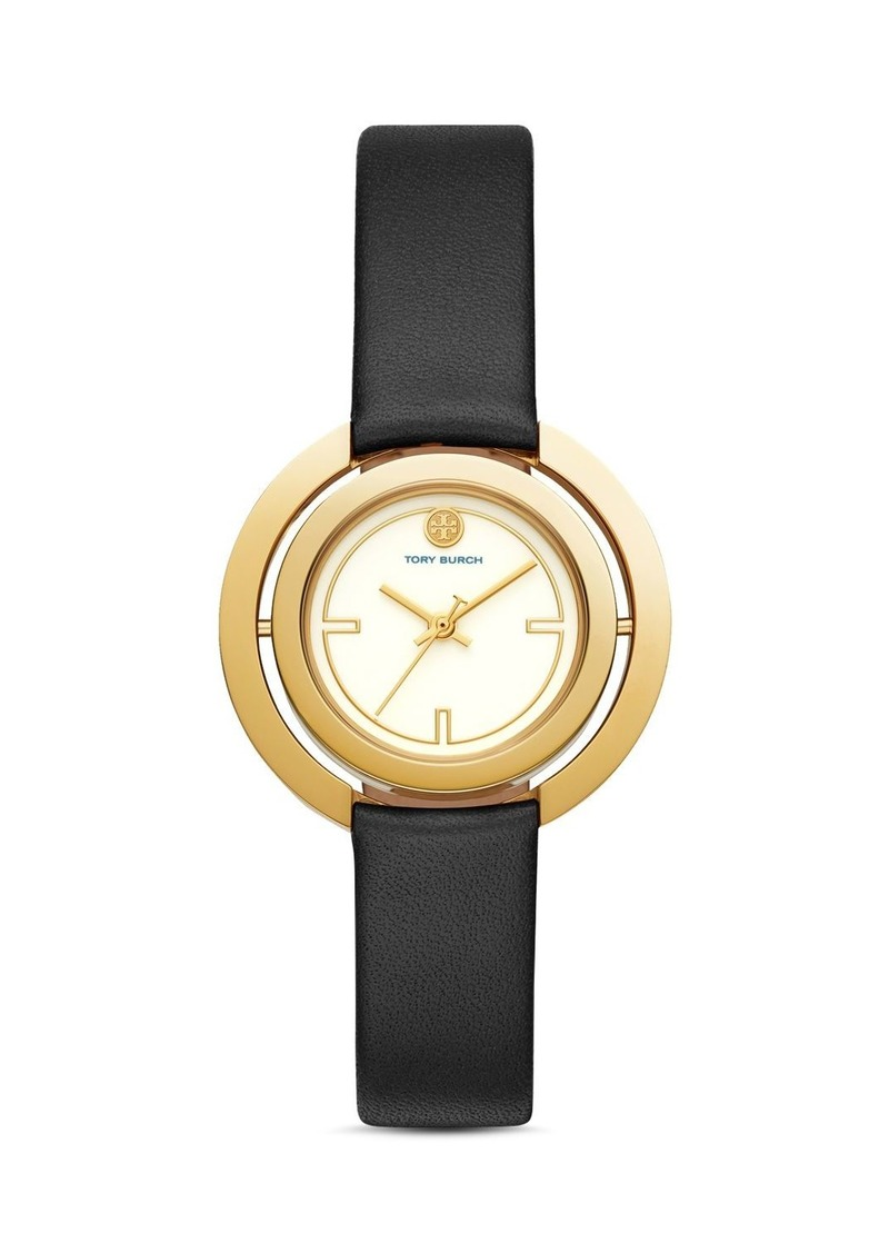 Tory Burch The Grier Black Leather Strap Watch, 26mm