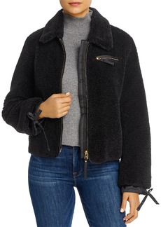 Tory Burch Tie-Cuff Faux Fur Jacket