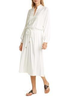 Tory Burch Tonal Stripe Long Sleeve Stretch Silk Dress