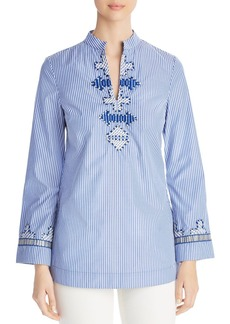 Tory Burch Tory Embroidered Stripe Tunic