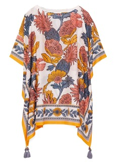 Tory Burch Tropical Print Cotton & Silk Cover-Up Caftan