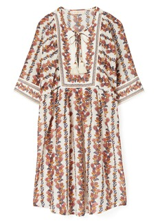 Tory Burch Tropical Print Cotton & Silk Cover-Up Tunic Dress