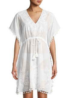 Tory Burch V-Neck Embroidered Caftan Coverup