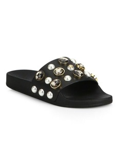 Tory Burch Vail Jeweled Leather Slides