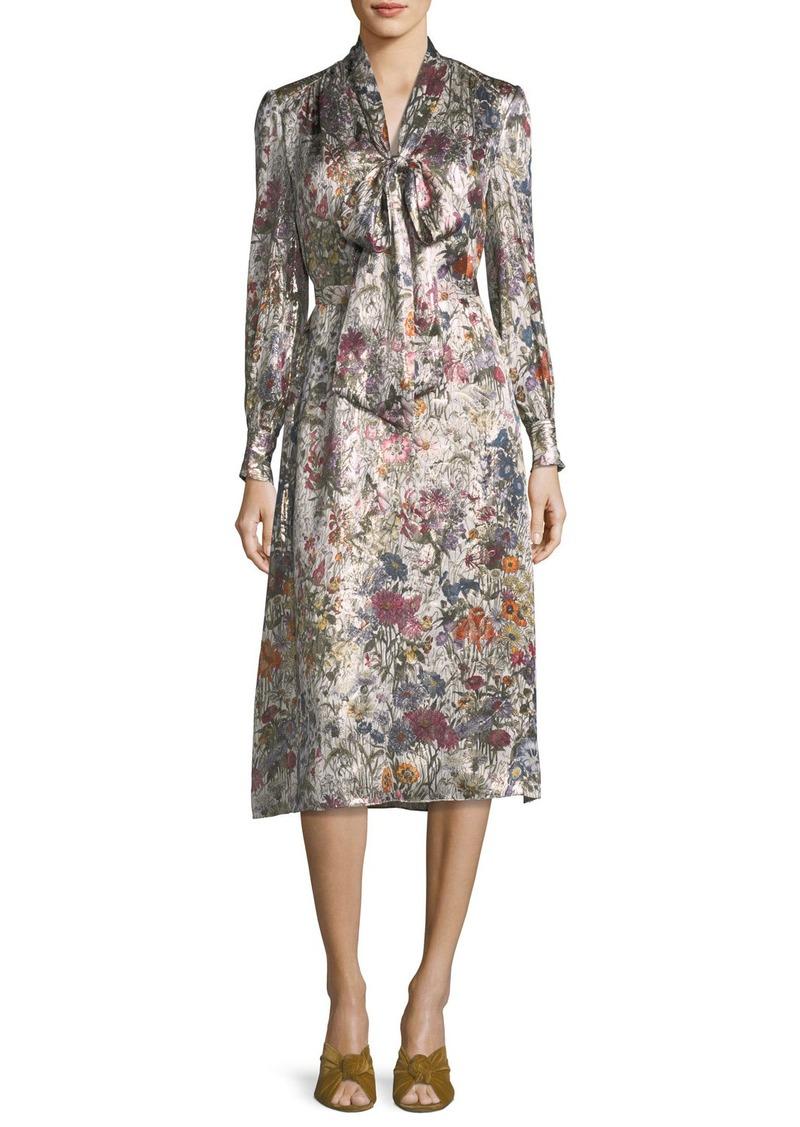 b3e03e5d390 Tory Burch Tory Burch Vanessa Long-Sleeve Floral-Print Satin Dress ...