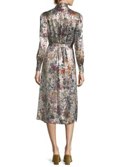 4370328e5a6 Tory Burch Tory Burch Vanessa Long-Sleeve Floral-Print Satin Dress ...