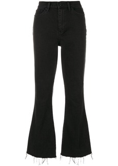Tory Burch Wade frayed flare jeans - Black