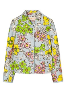 Tory Burch Wallpaper Floral Twill Crepe Jacket