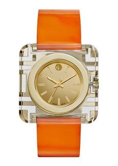 Tory Burch Izzie Leather-Strap Golden Watch