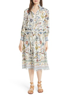 Tory Burch Waverly Floral Print Silk Midi Dress