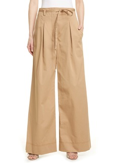 Tory Burch Wide Leg Cotton Twill Trousers
