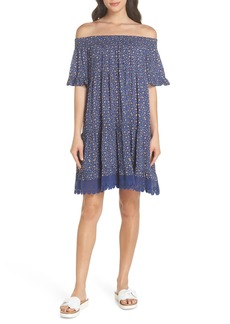Tory Burch Wild Pansy Off the Shoulder Cover-Up Dress