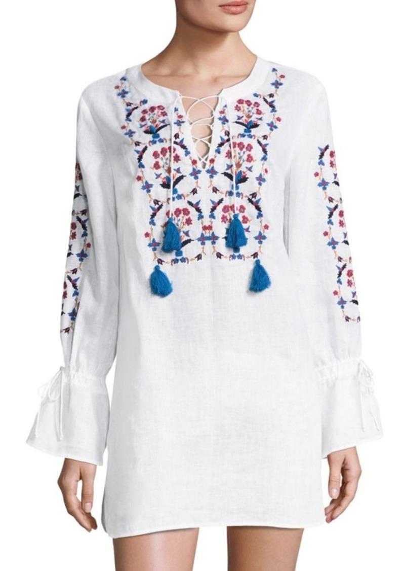 a6f76d1ba18a5 Tory Burch Wildflower Embroidered Bell-Sleeve Linen Beach Tunic ...