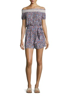 Tory Burch Wildflower Off-the-Shoulder Floral-Print Playsuit