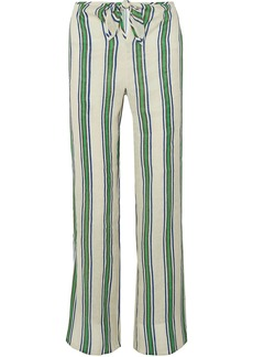 Tory Burch Woman Awning Striped Linen-gauze Wide-leg Pants Ivory