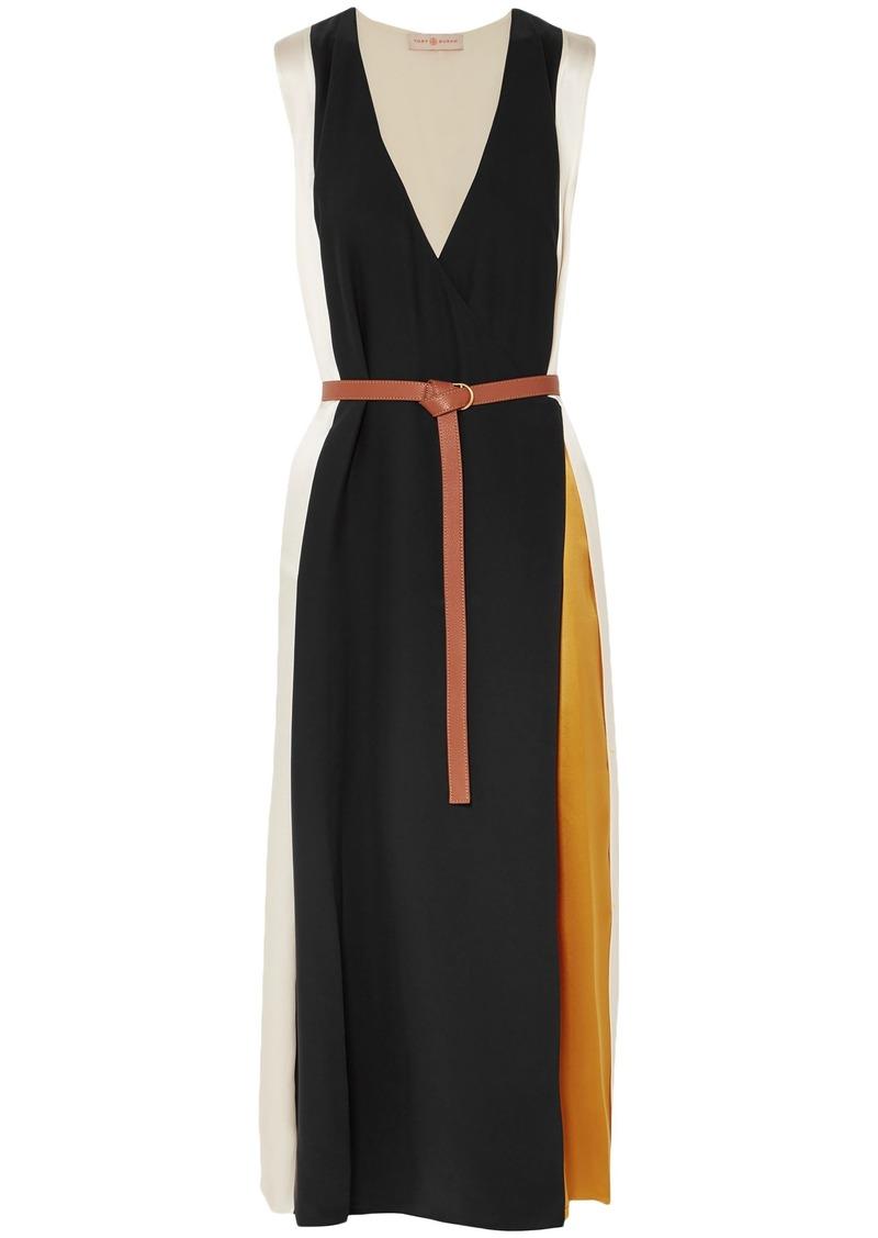 Tory Burch Woman Color-block Silk-satin Midi Wrap Dress Ivory
