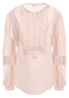 Tory Burch Woman Crochet-trimmed Cotton Tunic Pastel Pink
