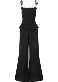 Tory Burch Woman Smocked Silk Crepe De Chine Jumpsuit Black