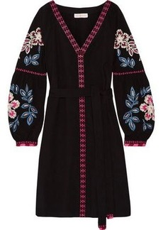 Tory Burch Woman Therese Embroidered Cotton Mini Dress Black