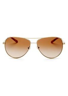 Tory Burch Women's Brow Bar Aviator Sunglasses, 59mm