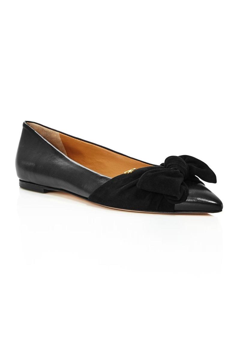 5daff71987cd Tory Burch Tory Burch Women s Eleanor Open Toe Leather Ballet Flats ...