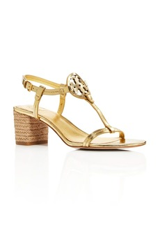 Tory Burch Women's Miller Leather T-Strap Block Heel Sandals