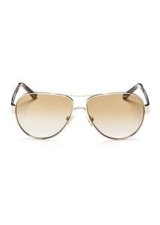 Tory Burch Women's Mirrored Brow Bar Aviator Sunglasses, 55mm