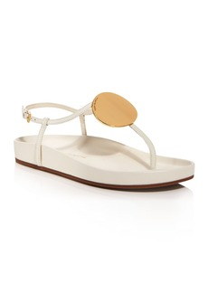 Tory Burch Women's Patos Gold Tone Medallion Leather Thong Sandals