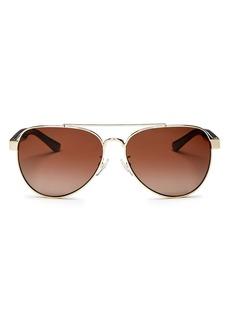 Tory Burch Women's Polarized Brow Bar Aviator Sunglasses, 57mm