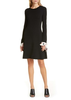 Tory Burch Woven Cuff Long Sleeve Sweater Dress
