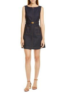 Tory Burch Zip Front Sleeveless Denim Minidress